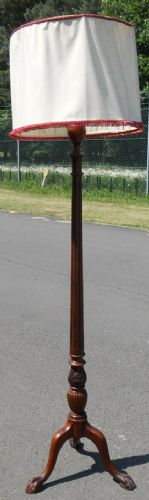 Tall Mahogany Column Standard Lamp